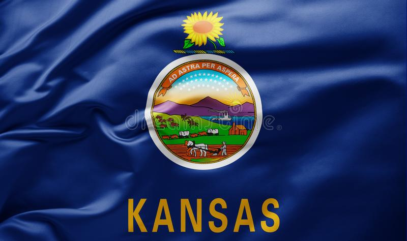 Waving state flag of Kansas - United States of America stock photo