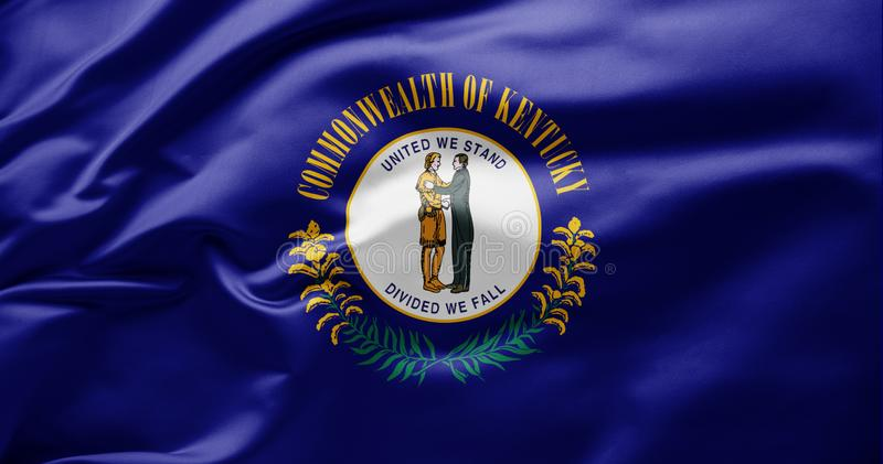 Waving state flag of Kentucky - United States of America stock photos