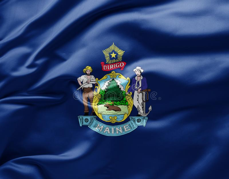 Waving state flag of Maine - United States of America royalty free stock images