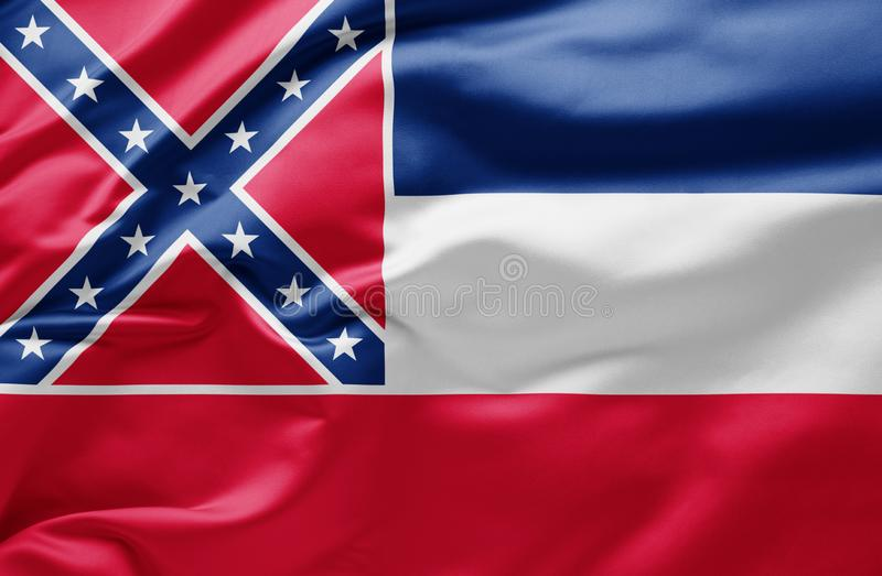 Waving state flag of Mississippi - United States of America royalty free stock photography