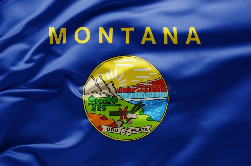 Waving state flag of Montana - United States of America royalty free stock photo