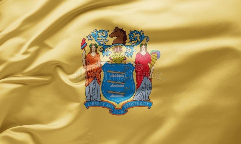 Waving state flag of New Jersey - Verenigde Staten van Amerika stock afbeeldingen