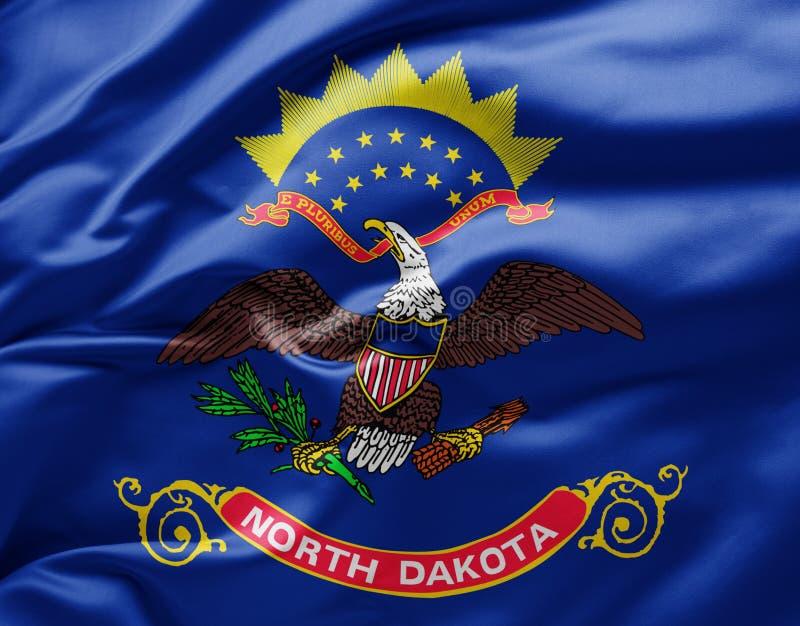 Waving state flag of North Dakota - United States of America stock photo
