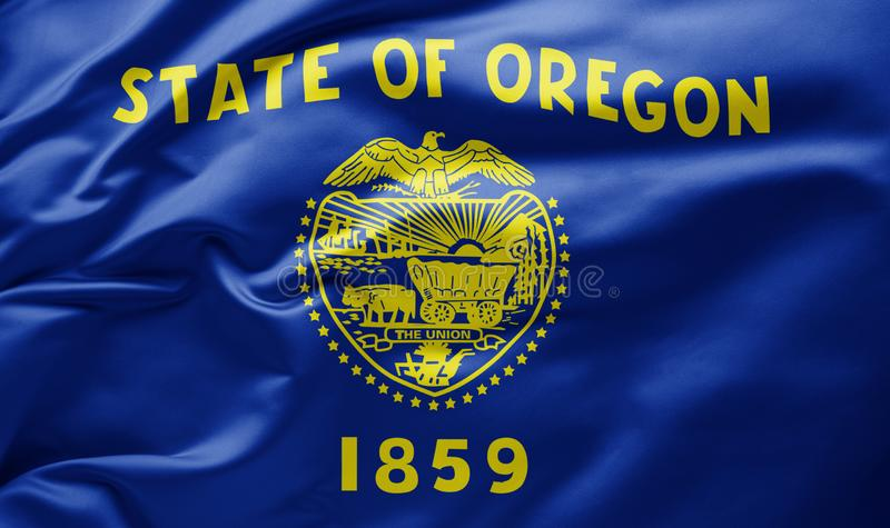 Waving state flag of Oregon - United States of America stock photos