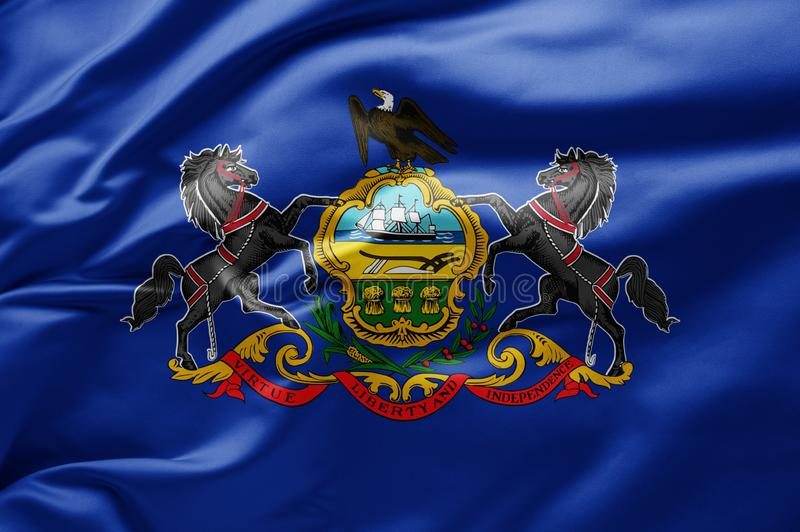 Waving state flag of Pennsylvania - United States of America stock photos