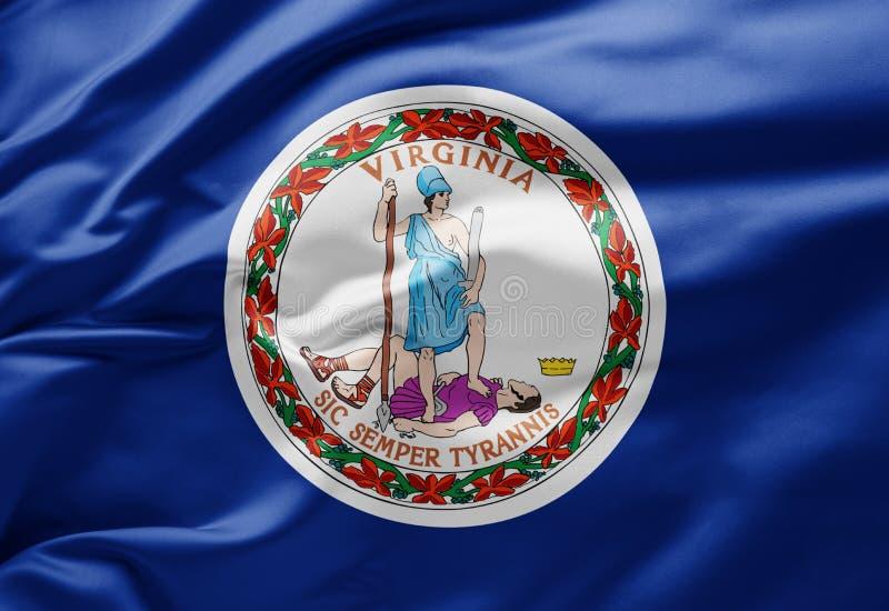 Waving State flag of Virginia (Verenigde Staten van Amerika) stock afbeelding