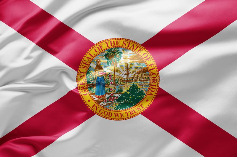 Waving State flagga of Florida - Förenta staterna arkivbild