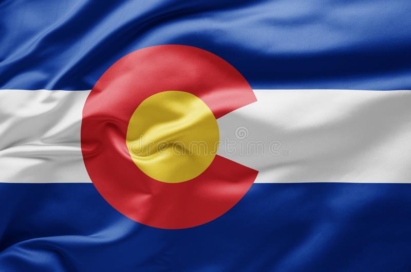 Waving State flagge of Colorado - Vereinigte Staaten von Amerika stockfotos