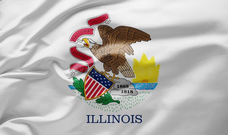 Waving State flagge of Illinois - Vereinigte Staaten von Amerika lizenzfreie stockfotografie
