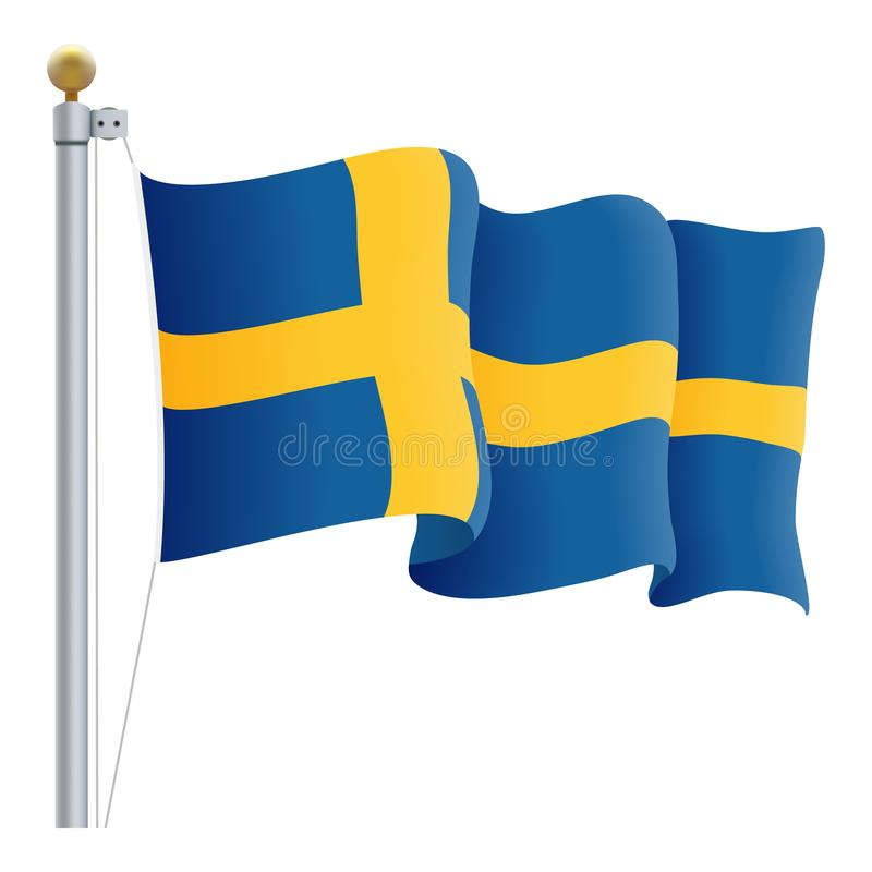 Waving Sweden Flag Isolated On A White Background. Vector Illustration. royalty free illustration