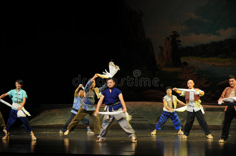 Waving a towel- Jiangxi opera a steelyard. Jiangxi opera a steelyard is adapted from a true story: the last century fortys, the protagonists father runs an oil royalty free stock photo