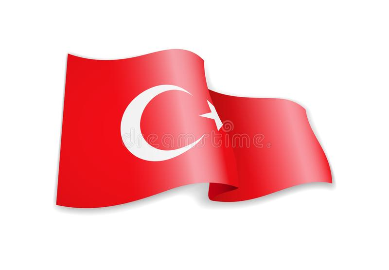 Waving Turkey flag on white background. Vector illustration stock illustration