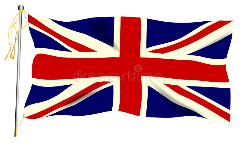 Waving Union Jack Flag stock illustration