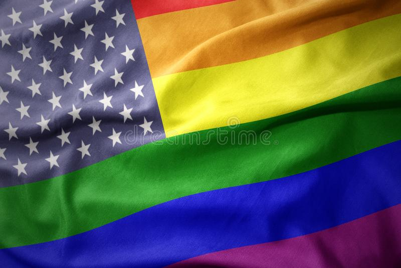 Waving united states of america rainbow gay pride flag banner vector illustration