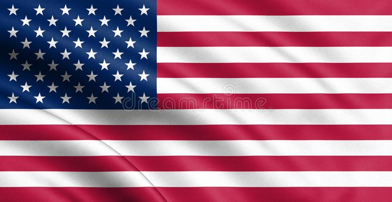 Waving USA flag. 3d illustration for your design. Banner desigh america royalty free stock photography