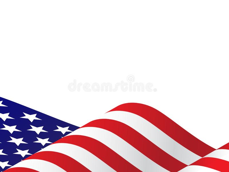 Waving USA Flag Vector Illustration for 4th of July, Independence Day or President Day royalty free illustration