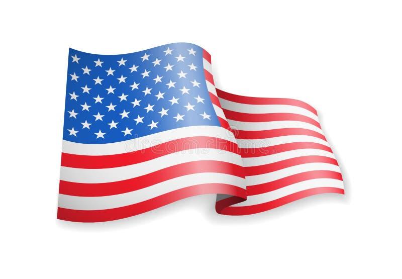 Waving USA flag on white background. Vector illustration vector illustration