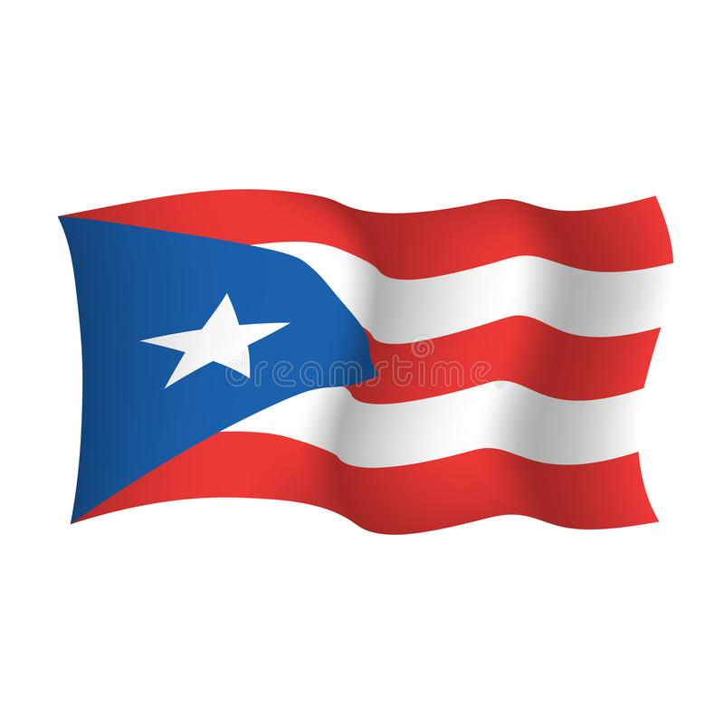 Waving vector flag of Puerto Rico. Commonwealth of Puerto Rico United States of America.  stock illustration