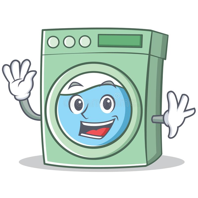Waving washing machine character cartoon. Vector illustration stock illustration