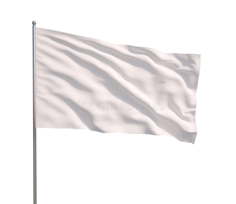 Waving white flag vector illustration