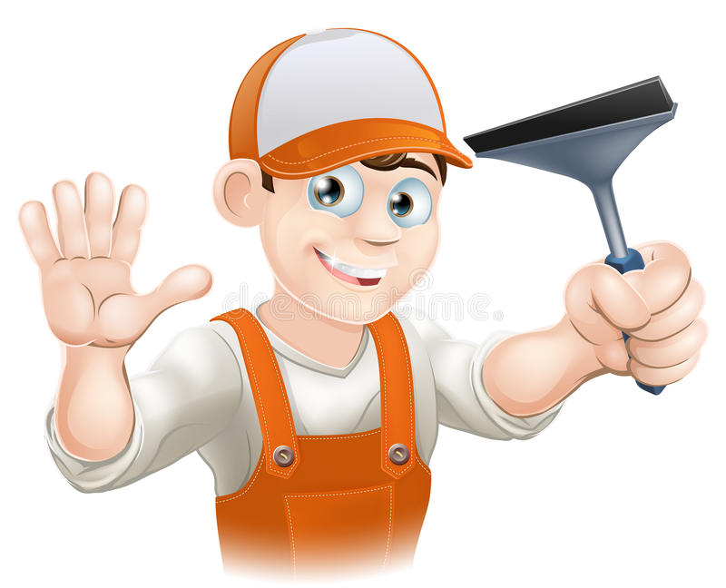 Waving Window Cleaner With Squeegee vector illustration