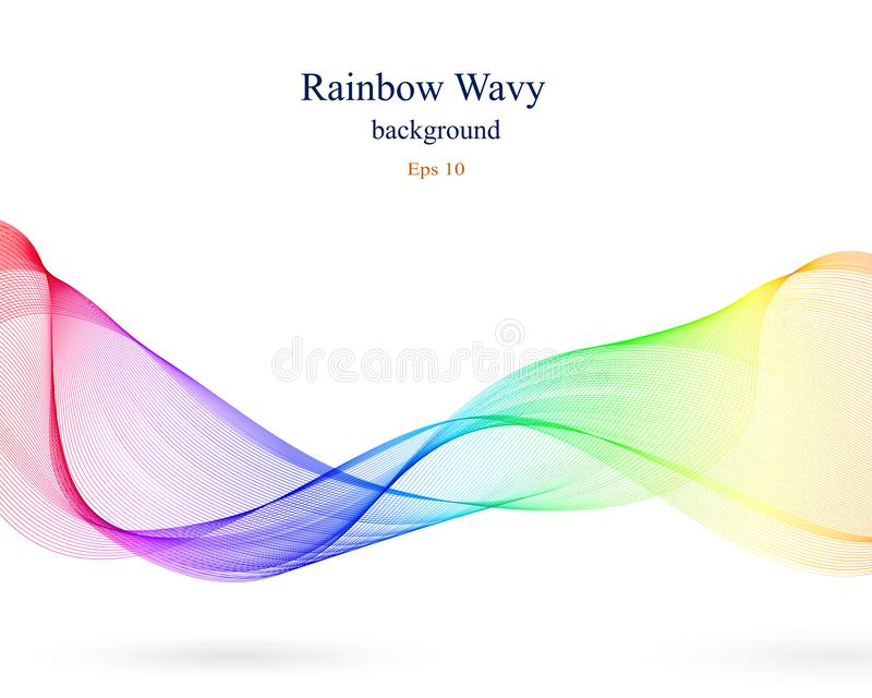 Wavy abstract background in rainbow colors royalty free illustration