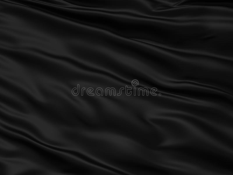 Wavy black textile background. With rippled effect royalty free illustration