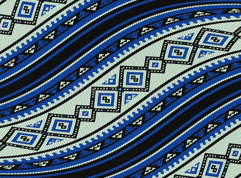 Wavy Blue Sadu Traditional Bedouin Rug Pattern Background. Wavy Middle Eastern Blue Sadu Traditional Bedouin Rug Pattern Background stock illustration