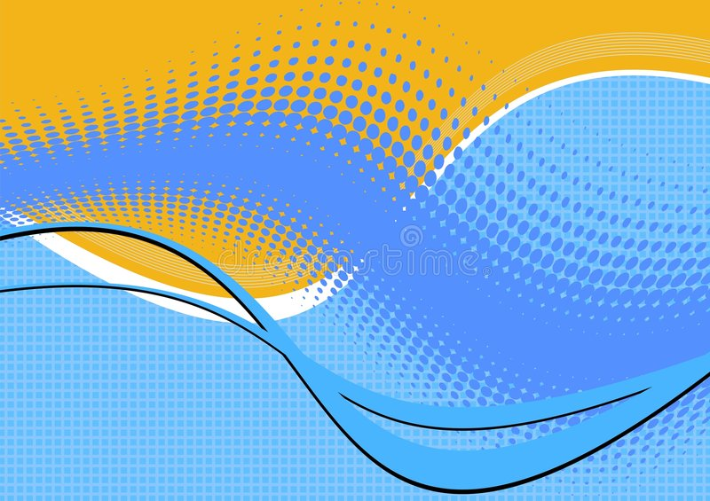 Wavy blue and yellow abstract vector illustration