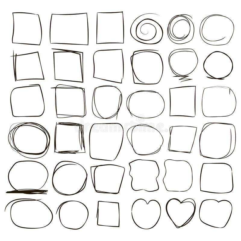 Wavy broken zigzag frame strokes outline squares of the heart circle photo line from hand black ink pen pen vector isolated on whi royalty free illustration