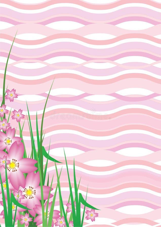 Wavy Cherry Blossom. Illustration of Pink Wavy Cherry Blossom Background vector illustration