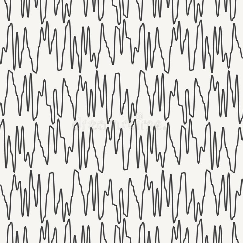Wavy curved zig zag lines seamless vector pattern. Hand drawn dynamic shapes abstract background. Black and white simple doodles. stock illustration