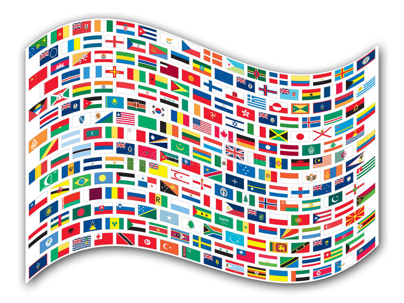 Wavy flags of the world royalty free illustration