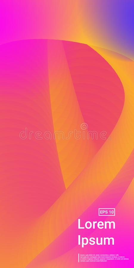 Wavy Geometric Shape. Pink, Orange, Yellow, Futuristic Blend Template.   Minimal Dynamic Web Applications. Mobile Vertical Flyer. Vector Template Design.n stock illustration