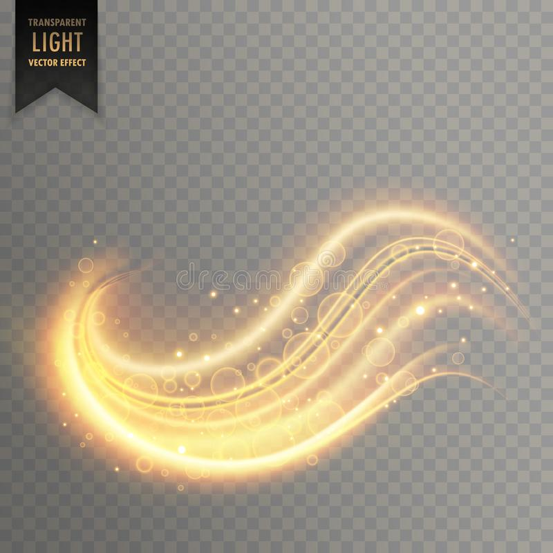Wavy golden transparent light effect stock illustration