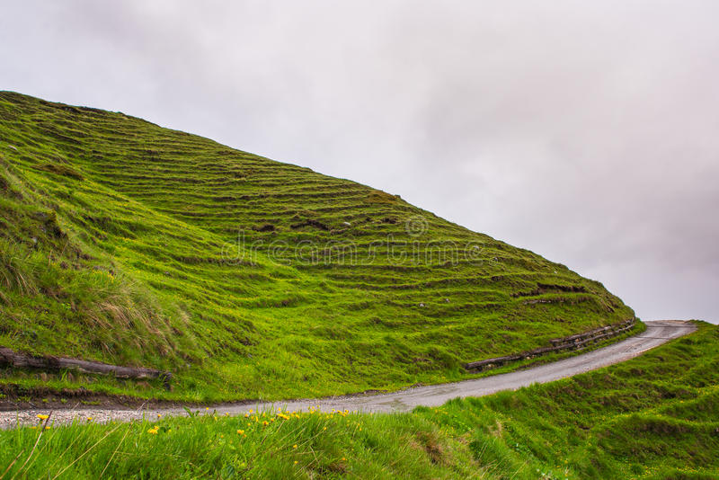 A wavy grass hill horizont. Horizont of wavy grass hill with road stock image