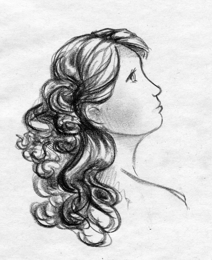 Wavy hair sketch stock photography