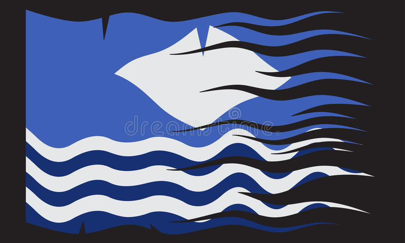 Wavy Isle Of Wight Flag. A wavy Isle of Wight flag design isolated on a black background stock illustration