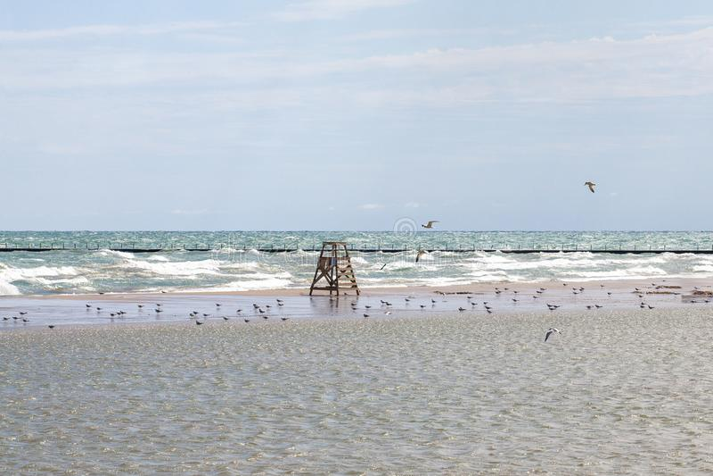 Wavy Lake Michigan at a Chicago Beach royalty free stock images