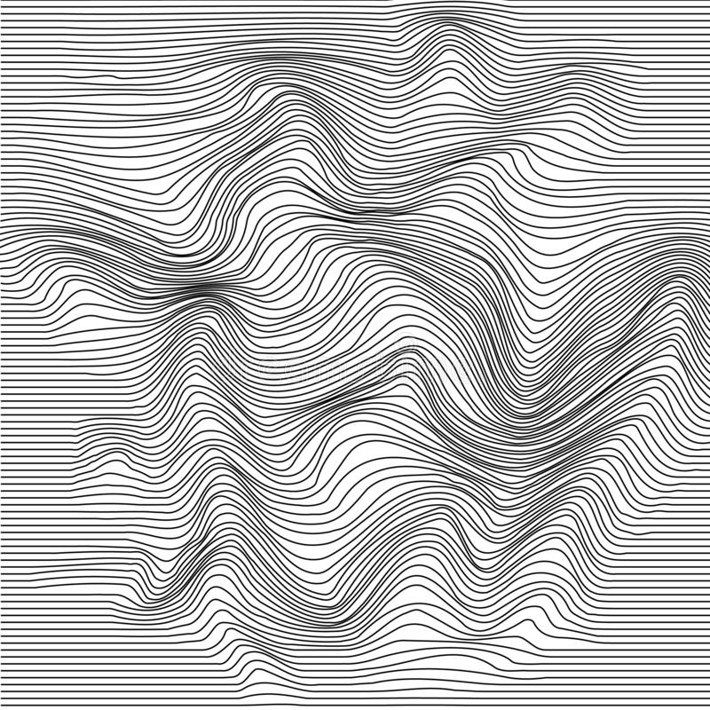 Wavy line deformation. Abstract monochrome striped glitch background. Vector illustration stock illustration