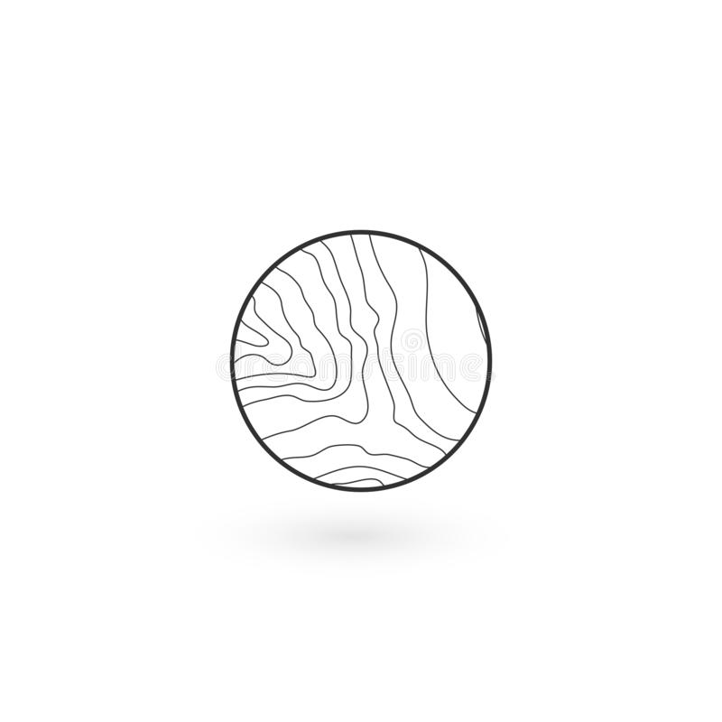 Wavy lines linear round icon of water, tree rings round Geometric identity Logo Design icon with shadow. Wood product concept Logo. Tree rings round Geometric royalty free illustration