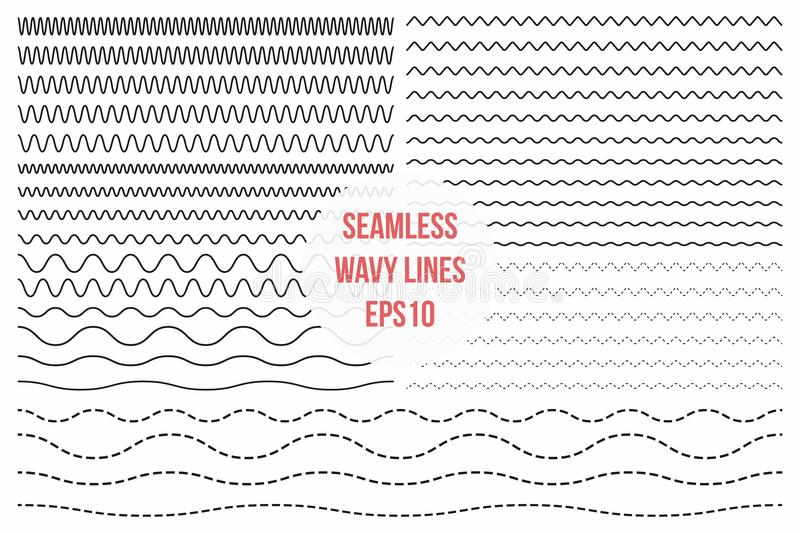 Wavy lines set. Horizontal seamless thin zig zag, criss cross and wavy lines for brushes vector illustration
