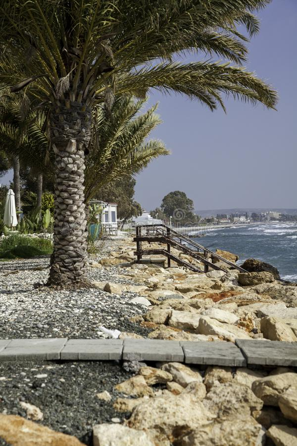 Wavy Mediterranean sea coast stock photo