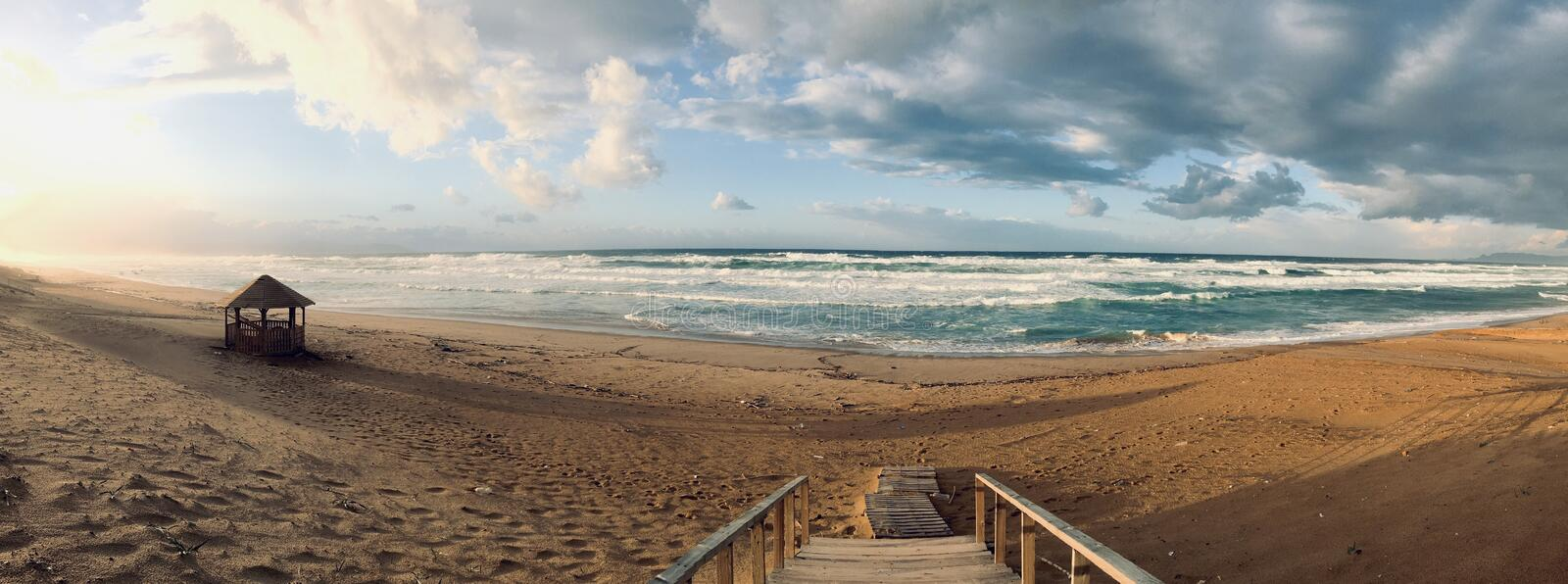 Wavy Mediterranean sea panorama on sunset time in Skikda Algeria stock images