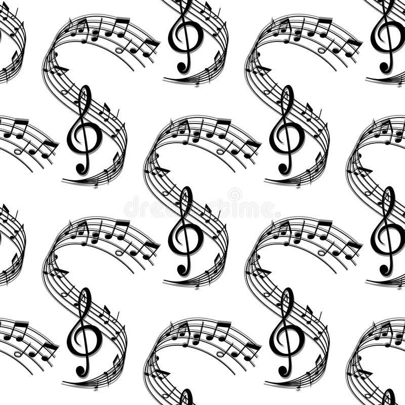 Wavy music stave seamless pattern vector illustration
