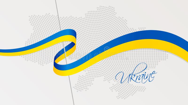 Wavy national flag and radial dotted halftone map of Ukraine stock illustration