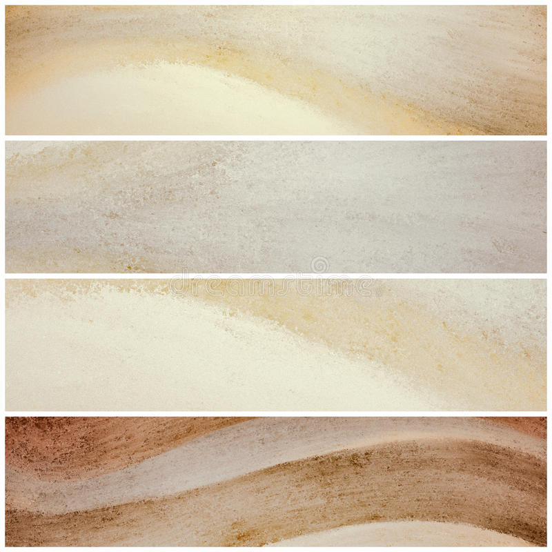 Wavy natural color website banners or stripes, graphic art design in neutral brown and beige. Brown and beige banner backgrounds with waves of painted grunge stock photos
