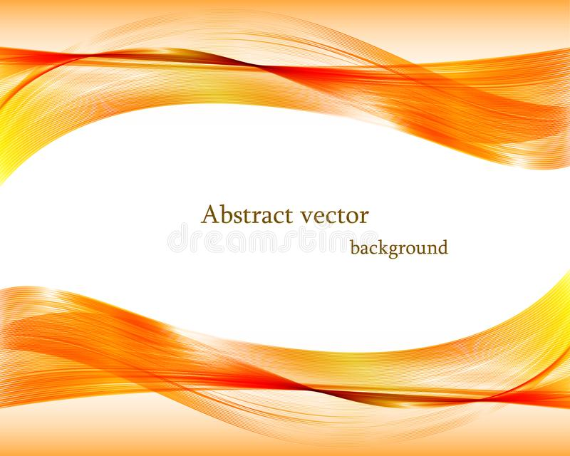 Abstract orange wavy vector background. vector illustration