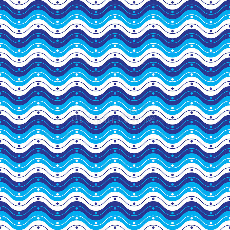 Wavy Pattern. A blue & white pattern with waves and dots stock illustration