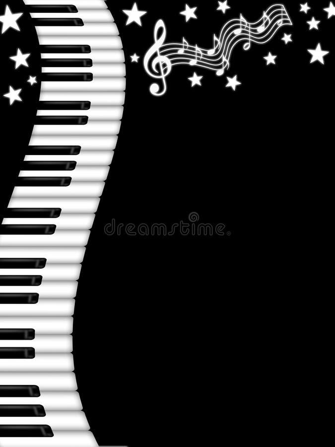 Wavy Piano Keyboard Black and White Background. Illustration vector illustration